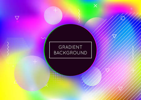 Holographic background with liquid shapes. Dynamic bauhaus gradient with memphis fluid elements. Graphic template for book, annual, mobile interface, web app. Hipster holographic background. Vectores