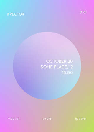 Circle fluid with round spheres. Gradient shapes on holographic background. Modern hipster template for covers, banners, flyers, report, brochure. Minimal circle fluid in vibrant neon colors.