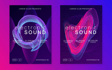 Trance event. Dynamic fluid shape and line. Futuristic concert invitation set. Neon trance event flyer. Techno dj party. Electron dance music. Electronic sound. Club fest poster. Vectores