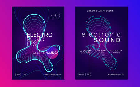 Sound flyer. Futuristic show banner set. Dynamic fluid shape and line. Neon sound flyer. Electro dance music. Electronic fest event. Club dj poster. Techno trance party.