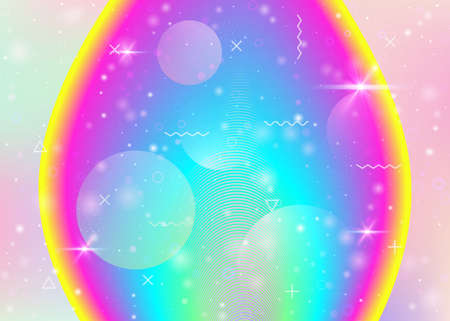 Rainbow background with vibrant gradients. Holographic dynamic fluid. Cosmos hologram. Graphic layout for web app, placard and wallpaper. Cute rainbow background.