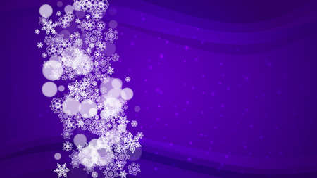 Xmas sales with ultraviolet snowflakes. New Year backdrop. Snow border for flyer, gift card, party invite, retail offer and ad. Christmas trendy background. Holiday frosty banner for xmas sales