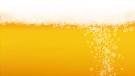 Oktoberfest background. Beer foam. Craft lager splash. Cold pint of ale with realistic white bubbles. Cool liquid drink for restaurant flyer design. Gold bottle with oktoberfest.