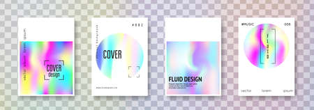 Fluid poster set. Abstract backgrounds. Vintage fluid poster with gradient mesh. 90s, 80s retro style. Iridescent graphic template for placard, presentation, banner, brochure. Ilustração