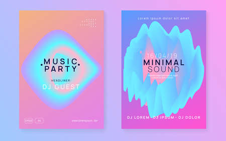 Music fest set. Fluid holographic gradient shape and line. Minimal house party presentation template. Electronic sound. Night dance lifestyle holiday. Summer poster and music fest flyer.