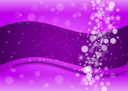 Falling snow with ultraviolet snowflakes. New Year frosty backdrop. Winter frame for flyer, gift card, invitation, business offer and ad. Christmas trendy background. Holiday banner with falling snow Illusztráció