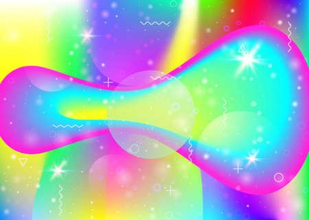 Fluid dynamic background with vibrant rainbow gradients. Dynamic hologram. Holographic cosmos. Graphic template for mobile screen, banner and cover. Pearlescent fluid dynamic.