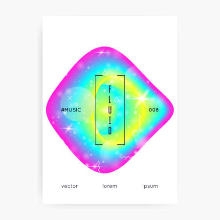Music flyer. Cool presentation template for electro concert. Electronic sound. Night lifestyle dance holiday. Fluid holographic gradient shape and line. Music flyer and poster for summer fest.