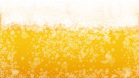 Beer background. Craft lager splash. Oktoberfest foam. Pour pint of ale with realistic white bubbles. Cool liquid drink for bar flyer template. Golden cup with beer background.