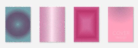 Set brochure. Minimalistic page, mobile screen, book, booklet mockup. Purple and pink. Set brochure as minimalist trendy cover. Line geometric element. Çizim