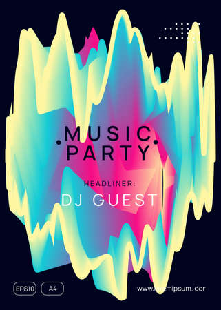 Music poster. Electronic sound. Night dance lifestyle holiday. Creative disco party presentation template. Fluid holographic gradient shape and line. Summer fest flyer and music poster.