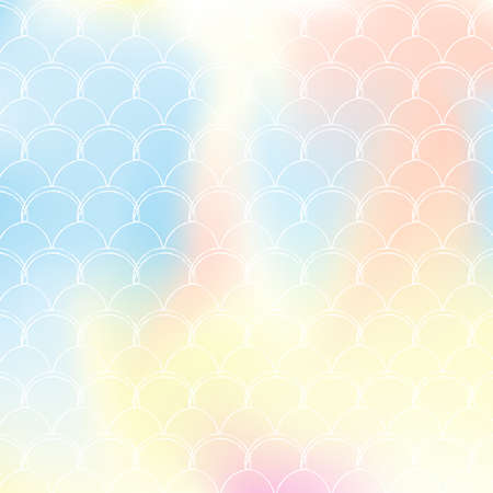 Gradient scale background with holographic mermaid. Bright color transitions. Fish tail banner and invitation. Underwater and sea pattern for girlie party. Iridescent backdrop with gradient scale.