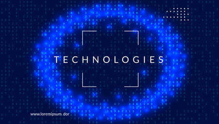 Artificial intelligence background. Digital technology, deep learning and big data concept. Abstract tech visual for networking template. Fractal artificial intelligence background. Çizim
