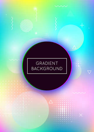 Holographic background with liquid shapes. Dynamic bauhaus gradient with memphis fluid elements. Graphic template for placard, presentation, banner, brochure. Bright holographic background.
