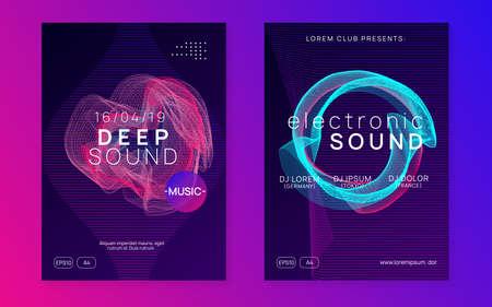 Electro event. Modern concert brochure set. Dynamic gradient shape and line. Electro event neon flyer. Trance dance music. Electronic sound. Club fest poster. Techno dj party. Çizim