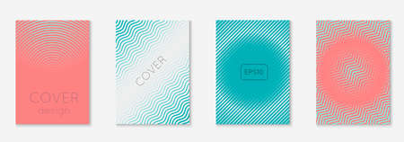 Line geometric elements. Color report, mobile screen, annual report, presentation concept. Pink and turquoise. Line geometric elements on minimalist trendy cover template.