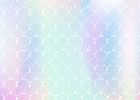 Gradient mermaid background with holographic scales. Bright color transitions. Fish tail banner and invitation. Underwater and sea pattern for girlie party. Pearlescent backdrop with gradient mermaid.