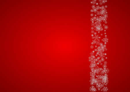 Christmas background with silver snowflakes and sparkles. Horizontal New Year and Christmas background for party invitation, banner, gift cards, retail offers. Falling snow. Frosty winter backdrop.