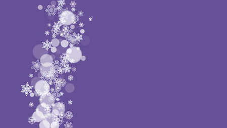 Winter frame with ultraviolet snowflakes. New Year backdrop. Snow border for flyer, gift card, invitation, business offer and ad. Christmas trendy background. Holiday snowy banner with winter frame