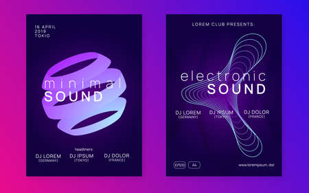 Electronic event. Commercial discotheque invitation set. Dynamic gradient shape and line. Neon electronic event. Electro dance dj. Trance sound. Club fest poster. Techno music party flyer.