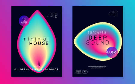 Music poster set. Electronic sound. Night dance lifestyle holiday. Trendy electro event presentation layout. Fluid holographic gradient shape and line. Summer fest flyer and music poster. Çizim