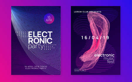 Edm flyer. Wavy discotheque magazine set. Dynamic fluid shape and line. Neon edm flyer. Electro trance music. Techno dj party. Electronic sound event. Club dance poster.