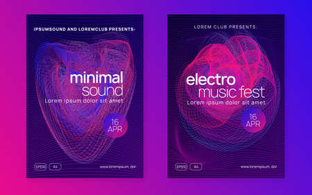 Dj event. Commercial discotheque brochure set. Dynamic fluid shape and line. Dj event neon flyer. Techno trance party. Electro dance music. Electronic sound. Club fest poster.