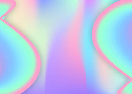 Fluid dynamic. Business invitation, report frame. Vivid gradient mesh. Holographic 3d backdrop with modern trendy blend. Fluid dynamic background with liquid shapes and elements.