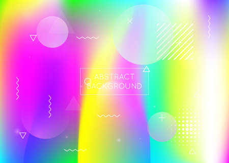 Memphis gradient background with liquid shapes. Dynamic holographic fluid with bauhaus elements. Graphic template for flyer, ui, magazine, poster, banner and app. Plastic memphis gradient.