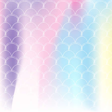 Gradient scale background with holographic mermaid. Bright color transitions. Fish tail banner and invitation. Underwater and sea pattern for girlie party. Colorful backdrop with gradient scale.