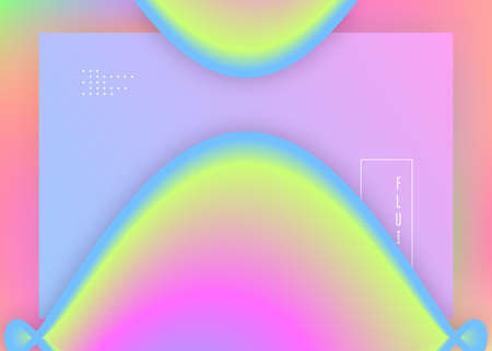 Liquid fluid. Abstract interface, app composition. Holographic 3d backdrop with modern trendy blend. Vivid gradient mesh. Liquid fluid with dynamic elements and shapes. Landing page. Çizim