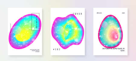 Music flyer. Electronic sound. Night dance holiday. Fluid holographic gradient shape and line. Wavy cover layout set for electro club. Music flyer and poster for summer fest.