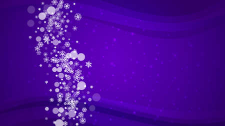 Xmas theme sales with ultraviolet snowflakes. New Year backdrop. Snow frame for flyer, gift card, invitation, business offer and ad. Christmas trendy background. Holiday snowy banner for xmas theme Çizim