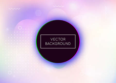 Dynamic shape background with liquid fluid. Holographic bauhaus gradient with memphis elements. Graphic template for flyer, ui, magazine, poster, banner and app. Colorful dynamic shape background.