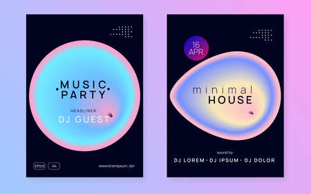 Music flyer set. Electronic sound. Night dance lifestyle holiday. Fluid holographic gradient shape and line. Commercial trance party brochure design. Poster for summer fest and music flyer. Çizim