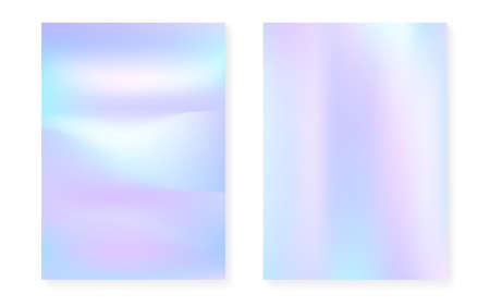 Pearlescent background with holographic gradient. Hologram cover set. 90s, 80s retro style. graphic template for book, annual, mobile interface, web app. Trendy pearlescent background set. Çizim