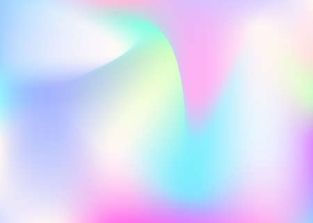 Hologram abstract background. Neon gradient mesh backdrop with hologram. 90s, 80s retro style. Iridescent graphic template for placard, presentation, banner, brochure.