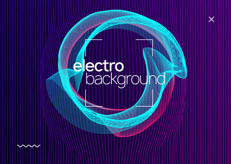 Electro event. Futuristic concert invitation layout. Dynamic fluid shape and line. Electro event neon flyer. Trance dance music. Electronic sound. Club fest poster. Techno dj party. Çizim