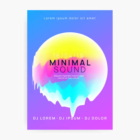 Music flyer. Fluid holographic gradient shape and line. Electronic sound. Night dance lifestyle holiday. Dynamic disco concert brochure template. Poster for summer fest and music flyer.