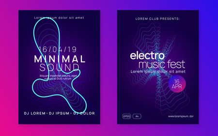 Music fest. Digital show cover set. Dynamic fluid shape and line. Music fest neon flyer. Electro dance. Electronic trance sound. Techno dj party. Club event poster. Vector Illustratie