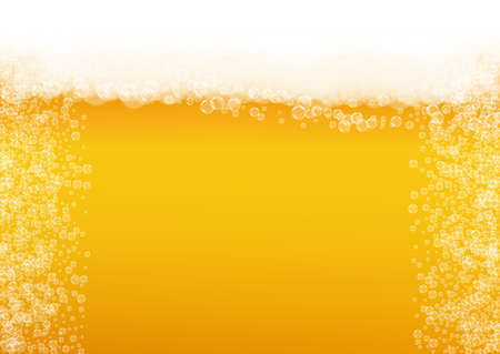 Lager beer. Background with craft splash. Oktoberfest foam. restaurant banner design. Froth pint of ale with realistic white bubbles. Cool liquid drink for Golden mug with lager beer.