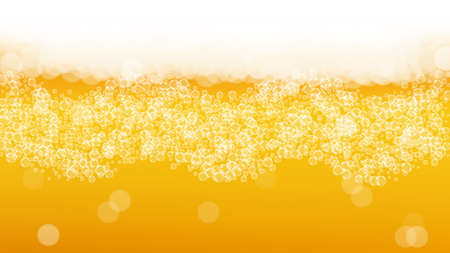Oktoberfest background. Beer foam. Craft lager splash. pab banner layout. Czech pint of ale with realistic white bubbles. Cool liquid drink for Gold mug with oktoberfest.