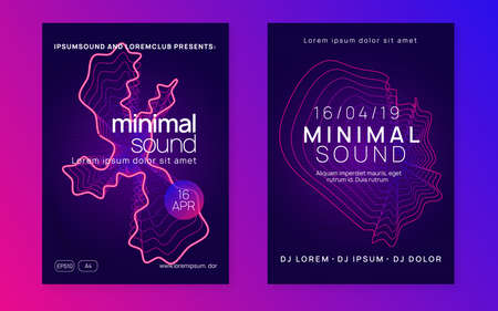 Music fest. Dynamic fluid shape and line. Curvy concert cover set. Music fest neon flyer. Electro dance. Electronic trance sound. Techno dj party. Club event poster. Stockfoto - 157838853