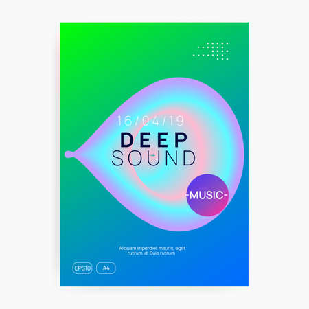Music fest. Fluid holographic gradient shape and line. Minimal house party presentation template. Electronic sound. Night dance lifestyle holiday. Summer poster and music fest flyer. Stock Illustratie