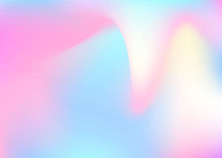 Holographic abstract background. Bright holographic backdrop with gradient mesh. 90s, 80s retro style. Pearlescent graphic template for brochure, flyer, poster design, wallpaper, mobile screen. Stock Illustratie