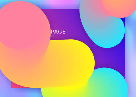 Liquid fluid. Vivid gradient mesh. Holographic 3d backdrop with modern trendy blend. Wavy interface, mobile template. Liquid fluid with dynamic elements and shapes. Landing page. Stock Illustratie