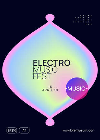 Summer music. Fluid holographic gradient shape and line. Commercial trance concert cover design. Electronic sound. Night dance lifestyle holiday. Fest poster and flyer for summer music. Stock Illustratie