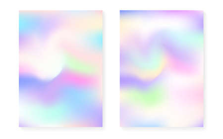 Holographic cover set with hologram gradient background. 90s, 80s retro style. Iridescent graphic template for brochure, banner, wallpaper, mobile screen. Neon minimal holographic cover.