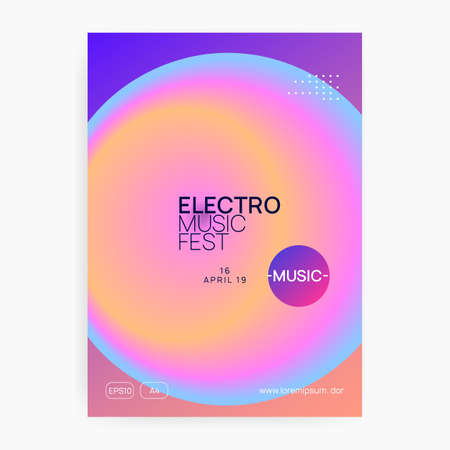 Music poster. Electronic sound. Night dance lifestyle holiday. Futuristic trance show cover design. Fluid holographic gradient shape and line. Summer fest flyer and music poster. Stock Illustratie