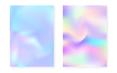 Pearlescent background with holographic gradient. Hologram cover set. 90s, 80s retro style. graphic template for flyer, poster, banner, mobile app. Rainbow pearlescent background set.